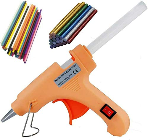 Penggong 20W 20 WATT 7MM hot melt Glue Gun with ON Off Switch and LED Indicator 5 Transparent + 5 Colored + 5 Glitter Sticks