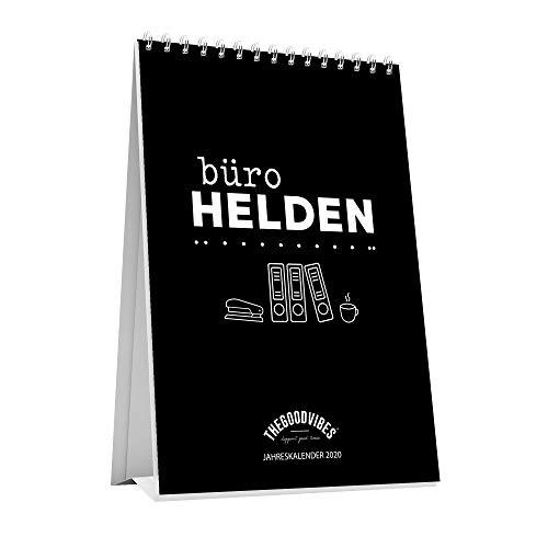 """Tischkalender 2020\""""BÜROHELDEN\"""" von THEGOODVIBES - Sprüche Kalender, Jahreskalender Für Den Schreibtisch - Ideal Für Büro, Zuhause Oder Als Geschenk - Made In Germany - A5 Zum Aufstellen"""
