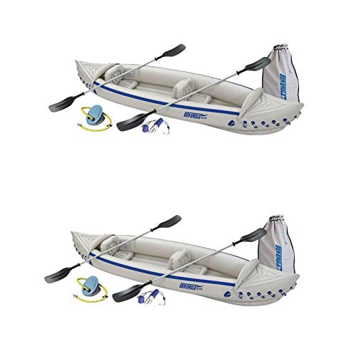 Sea Eagle 370 Deluxe 2 Person Inflatable Portable Sport Kayak & Paddles (2 Pack)