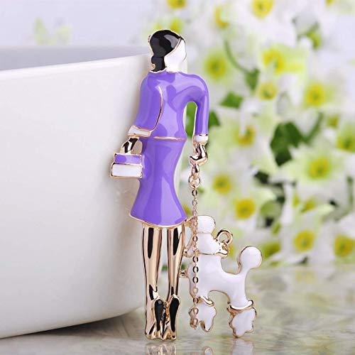 YXFYXF Broche Moda Sexy Vestido Chicas broches Azul Esmalte Bolsa Damas Corsage Pines Traje Bufanda Hebillas Oro Metal Pin up Mujer joyería (Color : Purple)