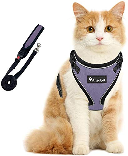 Cat Harness and Leash Set for Walking Escape Proof,Kitten Harness,Super Soft Adjustable Breathable Cat Vest Harnesses with Reflective Strips&1Cat Leash,for Small Cats Ferrets (S, Light Purple)
