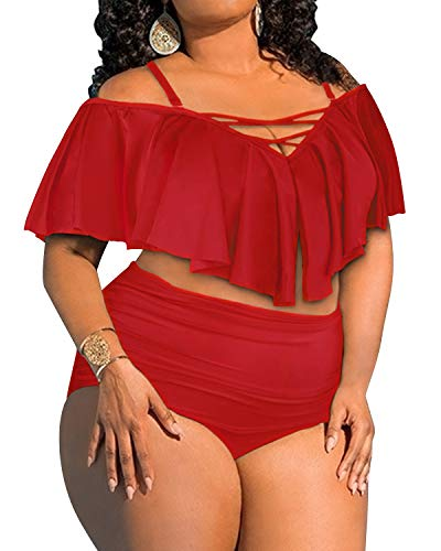 Aqua Eve Women's Plus Size Two Piece Swimsuit Flounce Off Shoulder Bikini High Waisted Bathing Suits Red 20W