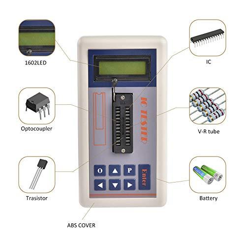 FADDR Transistor-Tester, IC-Tester für integrierte Schaltungen MOS PNP NPN-Detektor mit LCD-Digitalanzeige, Messgerät für 3,3 V / 5,0 V/automatische Suche