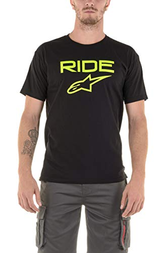 Alpinestars Ride 2.0 Tee t-Shirt Logo Manches Courtes Coupe Moderne Homme Ride 2.0 Tee Black/Green FR: L (Taille Fabricant: L)