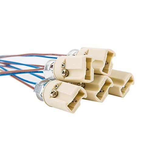 ODETOJOY G9 Lampenfassung Mit isol. Kabelzuleitung Lampensockel Fassung Sockel für LED Halogen Fassung Sockel Keramik mit Qualitäts 0,75mm² kabel (5 Stk. G9 Lampenfassung)