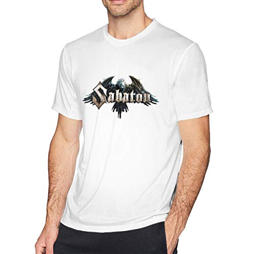 Sabaton Men's Short Sleeve T-Shirt Casual Tops Tee Classic Fit Basic Shirts Round Neck King Size White L