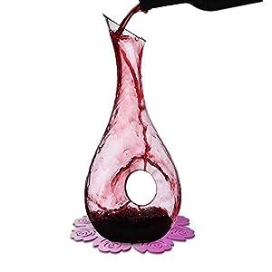 WOQO Jarra Vino, 1.2L Decantador Para Vino Por Cristal Vaso, Aireador De Vino Con Bonito Silicona Almohadilla, Accesorios De Vino