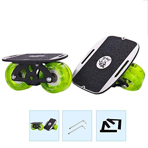 Drift Skate Pro Skates Plates Split Skateboard Curve Orbitwheels Met Pu Wheel Silent Lager Draagbare ABS Shell Wear-Resisting Lichtgewicht Compact Draagbaar Skateboard met lagers Groen