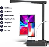 COZOO LED Desk Lamp with 3 USB Charging Port and 2 AC Outlet, 10W, 48Pcs LEDs, 3 Lighting Modes with 3 Brightness Levels, 1h Timer, Touch Dimmer Control,Eye Protection Foldable Reading Light,Black