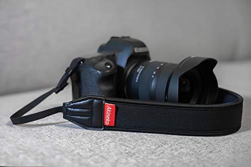 Akinekoカメラストラップ一眼レフ·ミラーレス用高耐久ネックストラップ【安心の18ヶ月保証】弾力性を持ち肩への負担を軽減できる各社一眼レフ、ミラーレスカメラ対応ストラップブラック
