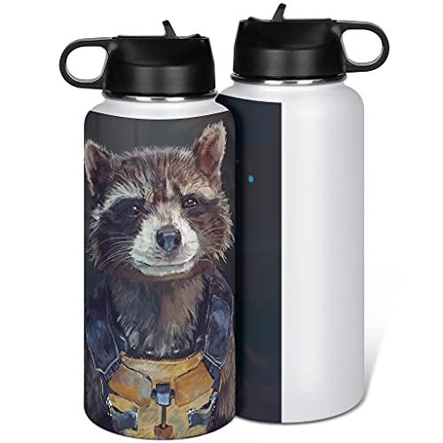 Cyliyuanye Botella de agua deportiva con tapa de paja, de Rocket, de acero inoxidable, térmica, blanca, 1000 ml