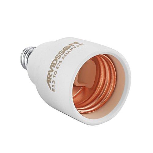 E12 TO E26 Adapter, ARVIDSSON E12 Light Socket, E12 E26 Adapter, E12 to E26 E27 Ceiling fans Chandelier Socket, Convert E26 Base to E12 Socket (E12 to E26 - 6 Pack)