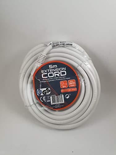 Shuko - Cable alargador (5 m, 3500 W), color blanco