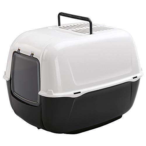 Katzentoilette Prima, robuster Kunststoff, Sicherheitsboden, verdeckte Schwingtür und komfortabler Griff, mit zwei Aktivkohlefiltern, 52,5 x 39,5 x 38 cm, schwarz