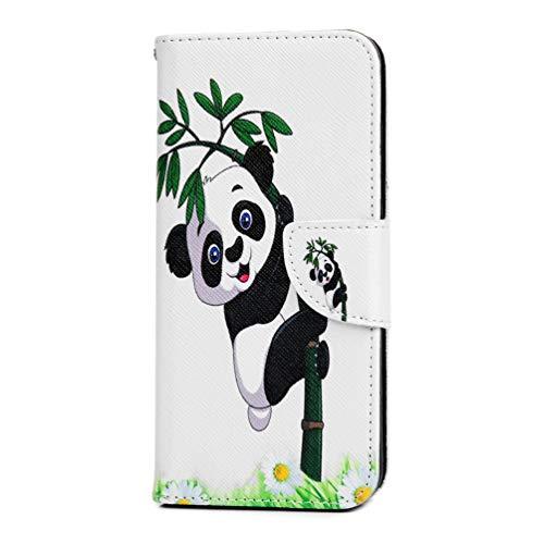 Huawei Y6 2019 Hülle, Hülle PU Leder Tasche Handyhülle Flip Case Cover Handytasche Mädchen Schutzhülle Skin Ständer Klappbar Schale Bumper Magnet Deckel für Huawei Y6 2019 Panda