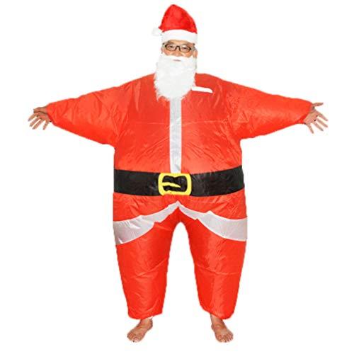 NUOBESTY Uppblåsbar jul tomte kostym maskeraddräkt roliga kläder med skägghatt för jul festlig nyårsfest (för vuxna 160-190 cm)