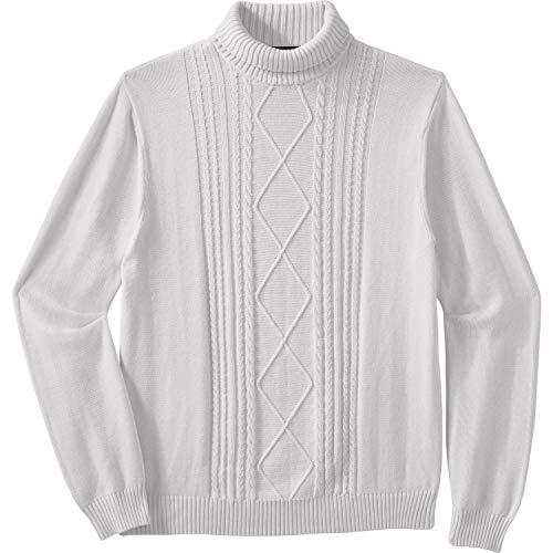 Liberty Blues Men's Big & Tall Shoreman's Cable Knit Turtleneck Sweater - Tall - L, Sand Stone Beige