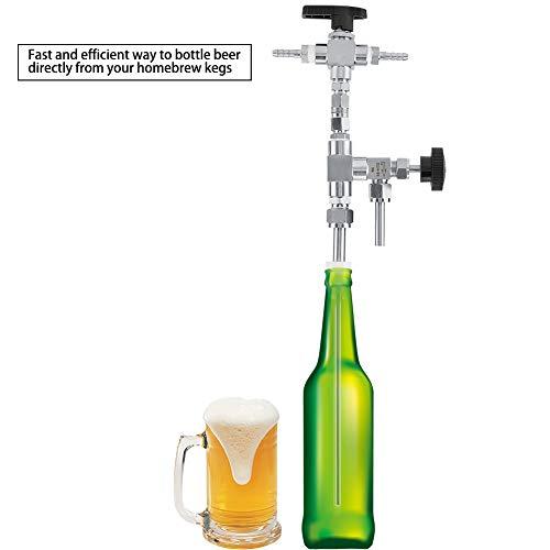 Edelstahl Abfüllpistole mit Bier/CO2 Ventil, Heimbrauen Bierabfüllsystem Druck Einstellbar, Einfache Brewing Ausrüstung für Übertragung Bier und Wein