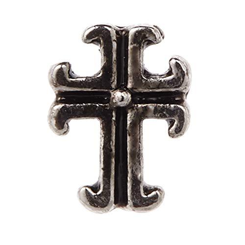 [アクセサリーショップピエナ]真鍮製 片耳用 ユニーク 個性的 クロス 十字架 スカル ドクロ シンプル 軽い 金属アレルギー対応 ピアス メンズ レディース TYPE-E