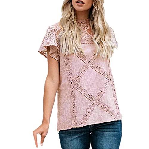 Tops Mujer Tela Cómoda Camisa Lino Sexy Camisa Manga Corta Tela Suave Y Transpirable Suelta Detalle Encaje Simple Blusa Mujer Moda Verano D-Pink 5XL