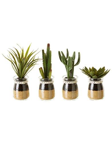 Hogar y Mas Planta Cactus PVC Set de Cuatro Unidades