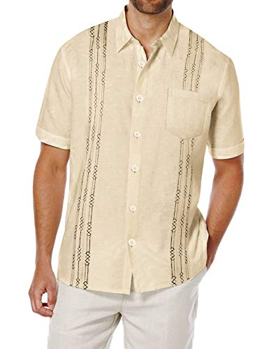 COOFANDY Mens Linen Wedding Shirt Guayabera Short-Sleeve Lightweight Tee Shirts