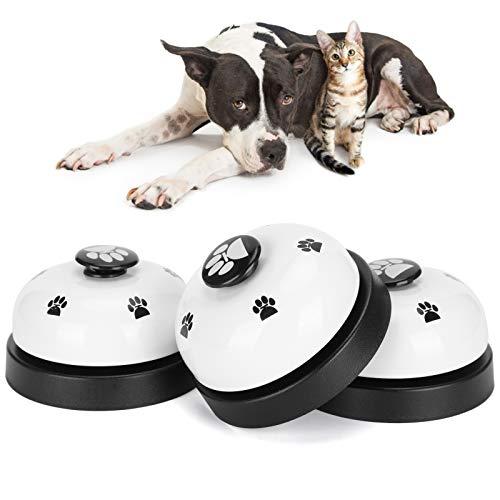 Pssopp 3 Campanas de Entrenamiento para Mascotas, Timbre para Perros, timbres para Mascotas, para Entrenamiento en el baño, y para Comer, Campanas de comunicación(Blanco)