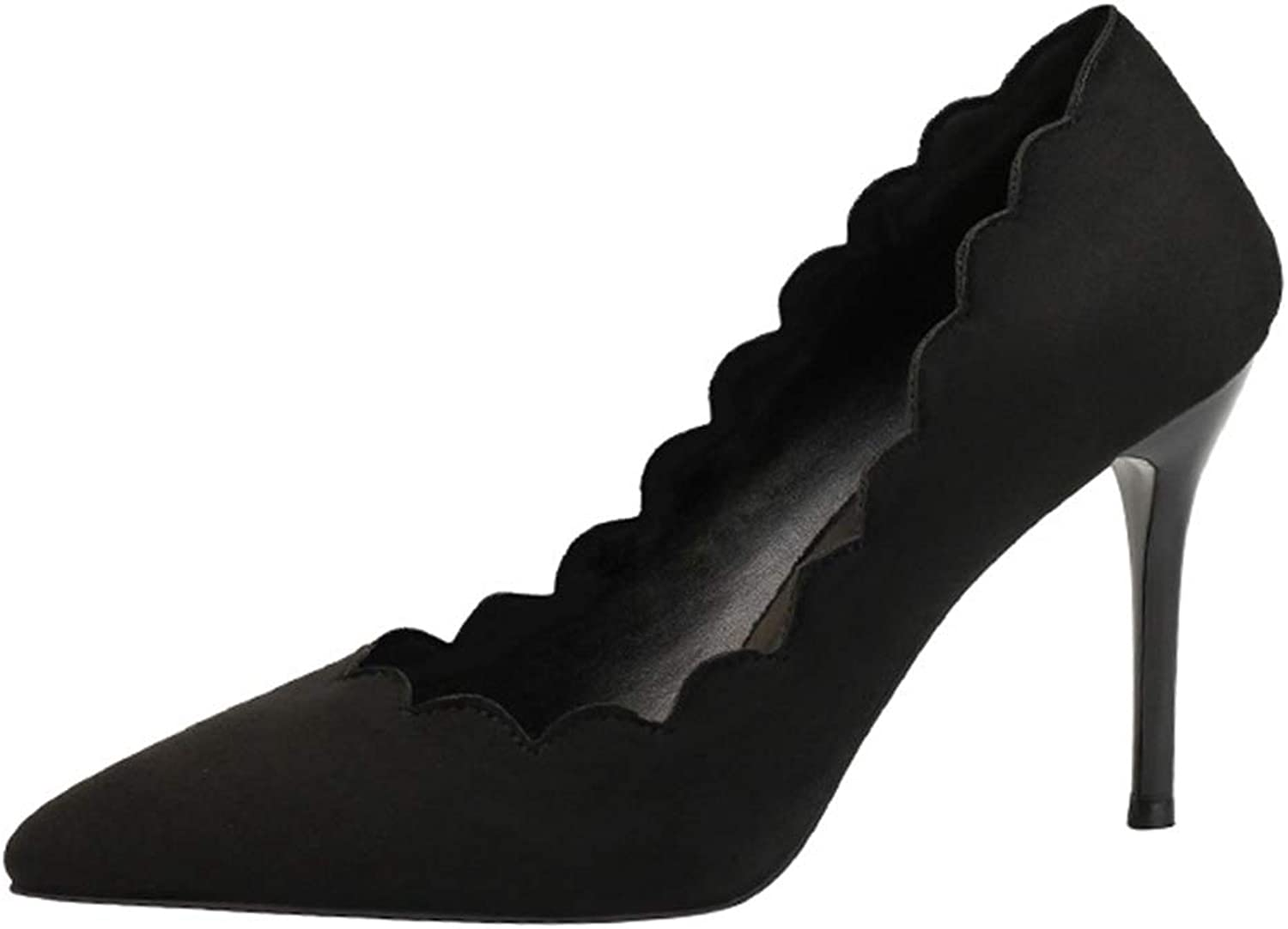 Sam Carle Women's Pumps,Lace Shape Solid color High Heel Sexy Nightclub Shallow Mouth shoes