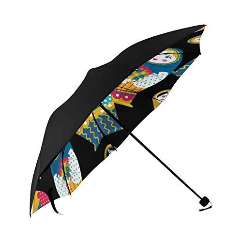 Faltbarer Schirmhalter Russischer Pelzbär Tier Unterseite Drucken Reise Winddichter Regenschirm Sonnenschirm Sonnenschirm Sonnenschirm Stuhl