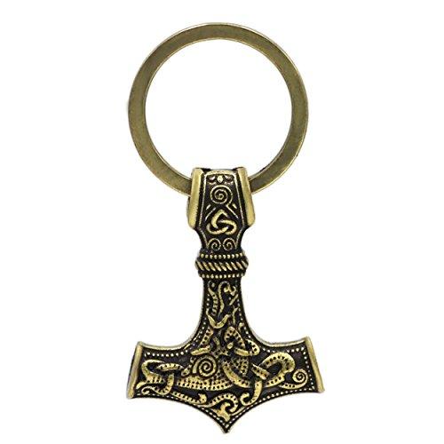 Llavero con colgante vikingo de martillo de Thor, de metal color bronce envejecido, lobo y cuervo de Odín, nudo de la muerte, Mjolnir, runa, talismán nórdico, escandinavo, celta, sajón.