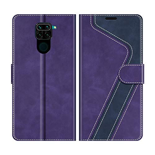 MOBESV Funda para Xiaomi Redmi Note 9, Funda Libro Xiaomi Redmi Note 9, Funda Móvil Xiaomi Redmi Note 9 Magnético Carcasa para Xiaomi Redmi Note 9 Funda con Tapa, Violeta/Azul Oscuro