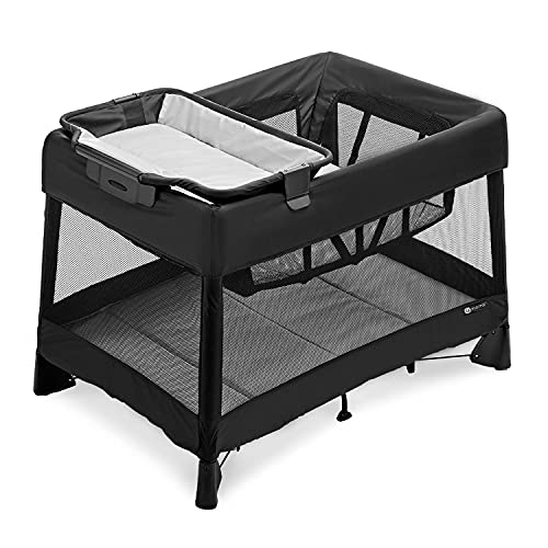 4moms Breeze Plus Portable Playard with Removable Bassinet and Baby Changing Station, Easy One-Handed Setup, from The Makers of The mamaRoo