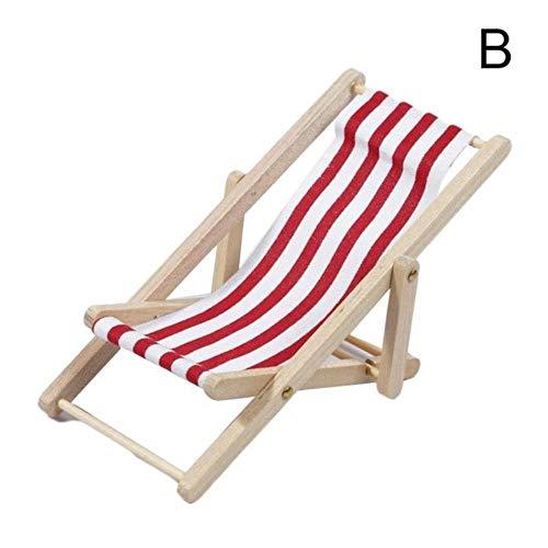 Minatore Mini Stripe Beach Lounge Chair Doll House Modello di Simulazione Play House Toy Mini Pieghevole Beach Chair Toy, B