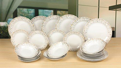 Waterside Fine China, servizio di piatti con motivo oro composto da 24 pezzi