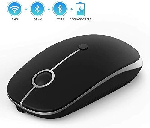 Jelly kam Draadloze muis, Bluetooth, oplaadbaar, ontvanger 2,4 G – 3 standen dpi, verstelbaar, zwart en zilver