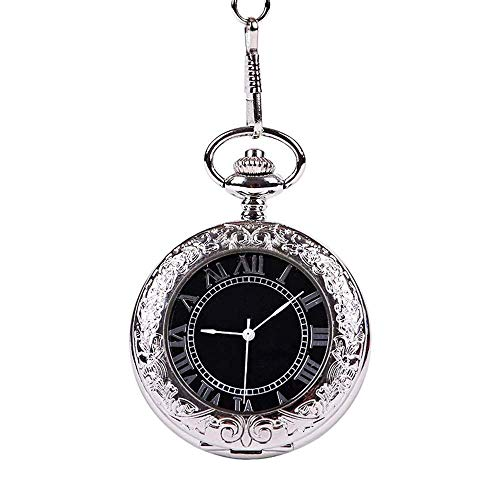 JIERI Worth having - 透明なガラス懐中時計の完全自動銀のフリップレースの機械的な懐中時計男性女性(色:銀、サイズ:4.7x1.5cm) (Color : Silver, Size : 4.7x1.5cm)