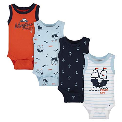 Gerber - Body sin Mangas para bebé (4 Unidades), Pirata Blanca, Recién Nacido