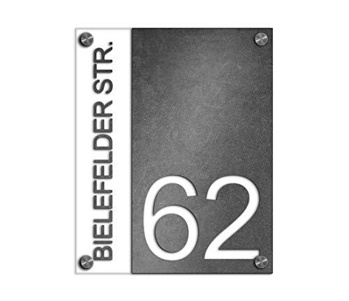 Premium Designer Hausnummer 20x25 cm mit UV Druck und Montage Set - rechteckig - Familien-Haus Bedruckte Hausnummern mit Straßen Straßennamen für die Haustür Ferienhaus