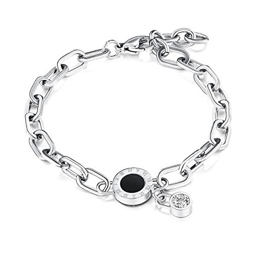 1 pieza de joyería con números romanos de acero inoxidable y diamantes pequeños encantos hechos a mano minimalistas