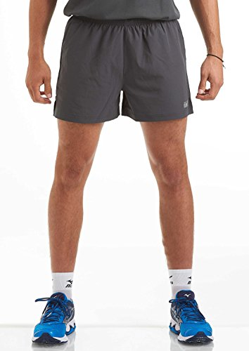 Time To Run Men's Pace Running/Gym/Training/Workout/Jogging Short With Zipped Side Pockets And Inner Liner Large Charcoal