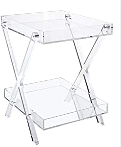 Likenow Furniture Acrylic Rectangular Tray Table,Clear,Modern,Double Layers,Assemble,20x18inch,High 24 Inch,16.5 LBS