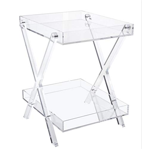Likenow Furniture Acrylic Rectangular Tray Table,Clear,Modern,Double...