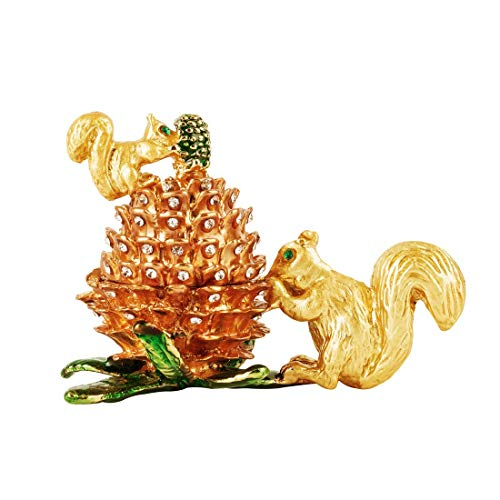 Kücheks Crystal Jeweled Animal Trinket Jewelry Boxes Hinged,Hand-Painted Squirrel&Pinecone Statues with Golden Enamel