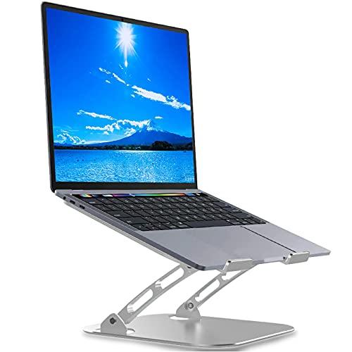 Aeerd ノートパソコン スタンド 折りたたみ式 ラップトップスタンド PCスタンド iPadスタンド 無段階高さ 角度調整 パソコン スタンド 卓上 放熱 冷却 縦置 軽量 放熱性(Silver)
