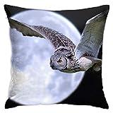 June flower Funda de almohada decorativa para el hogar, diseño de búho y luna nocturna, para regalo en casa, sofá, cama, coche, 45,72 x 45,72 cm