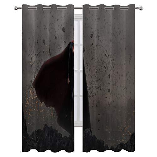 SSKJTC Cortinas opacas con aislamiento térmico para dormitorio Batman V Superman Dawn Of Justice Cortinas para habitación de niños de 140 x 183 cm