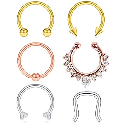 Jstyle 16pcs Stainless Steel Septum Clicker Nose Rings Hoop