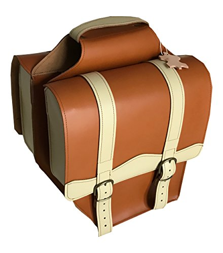 Dubbele tas voor bagagedrager achter leer honing/crème