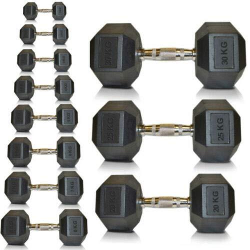 Goodbuy - 2 unidades de 1kg, Mancuernas hexagonales de hierro fundido recubiertas de caucho, ergonómicas, empuñadura antideslizante