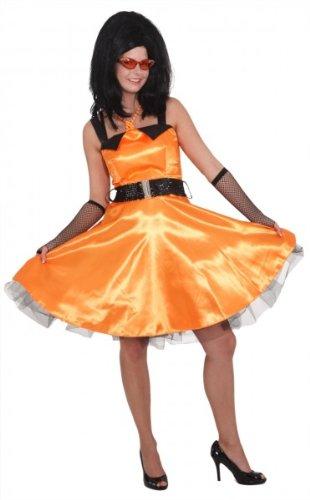 Sixties Kleid orange mit Petticoat, Erwachsenen-Größe:40